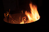 Burning garden waste,Flames in a barrel