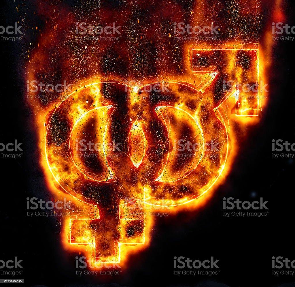 burning gender symbol stock photo