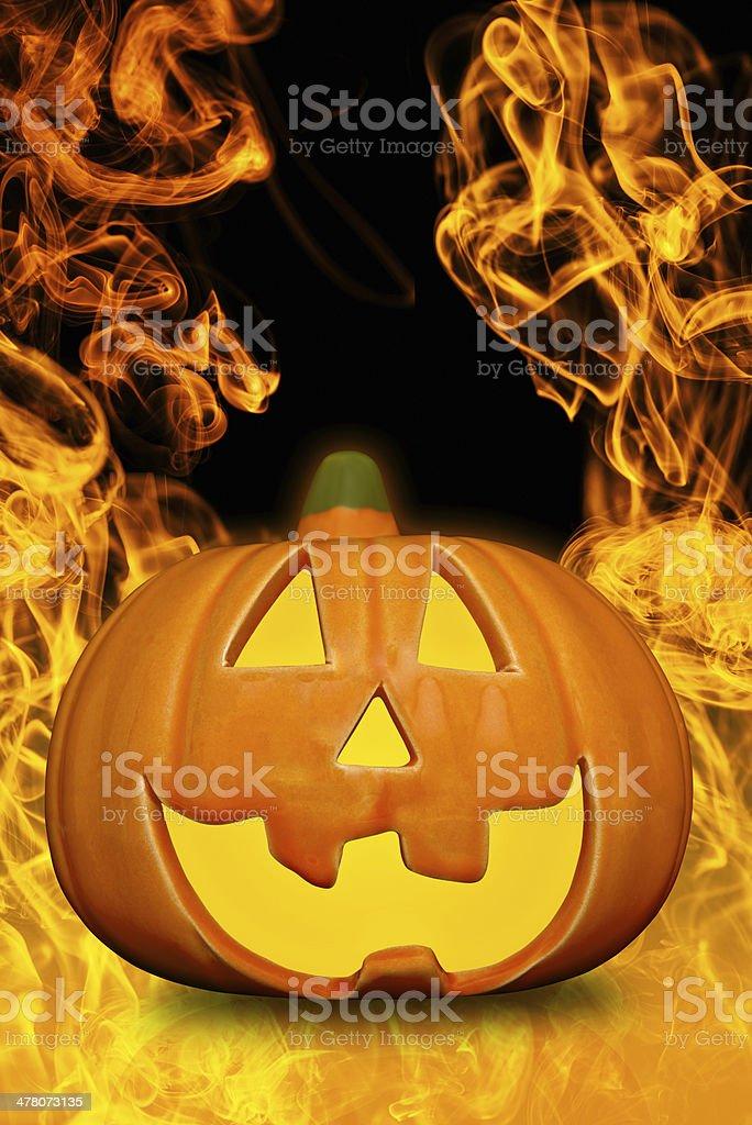 Burning halloween pumpkin royalty-free stock photo