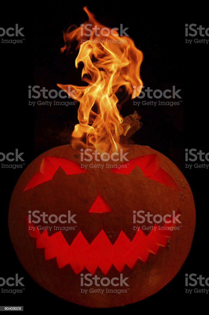 Burning halloween pumpkin royalty-free stock photo
