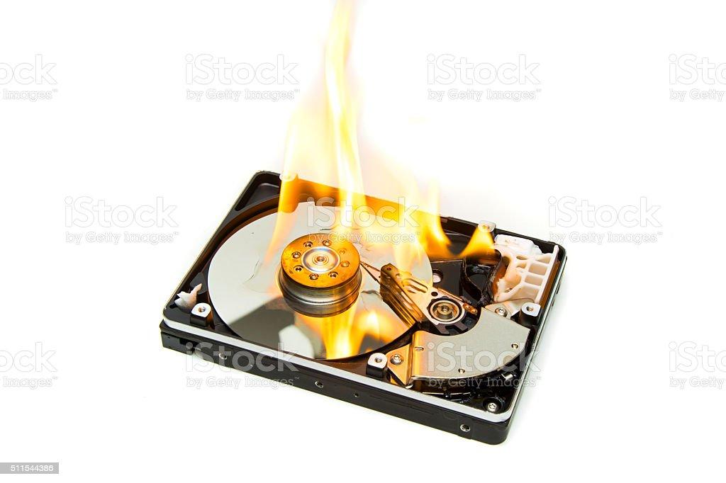 Burning Hard Disk Drive stock photo