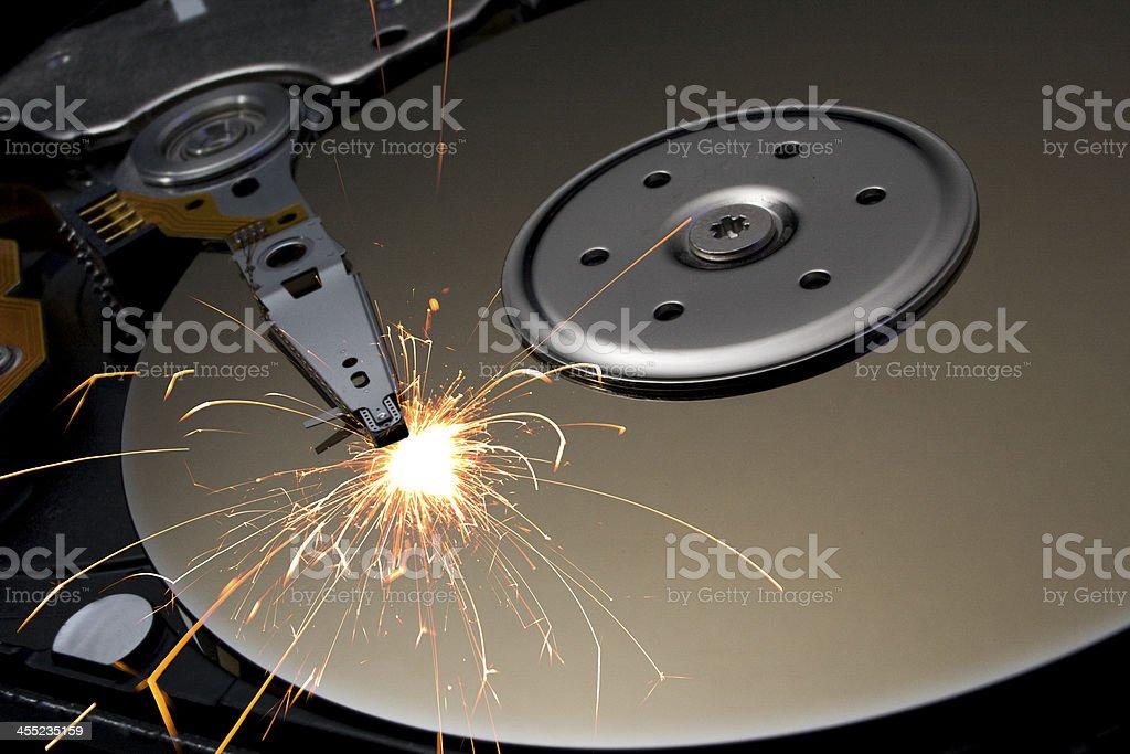 burning hard disk stock photo