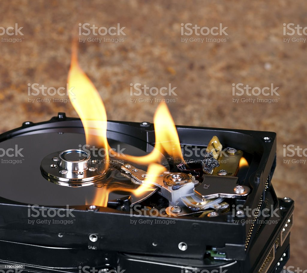 Burning hard drive royalty-free stock photo