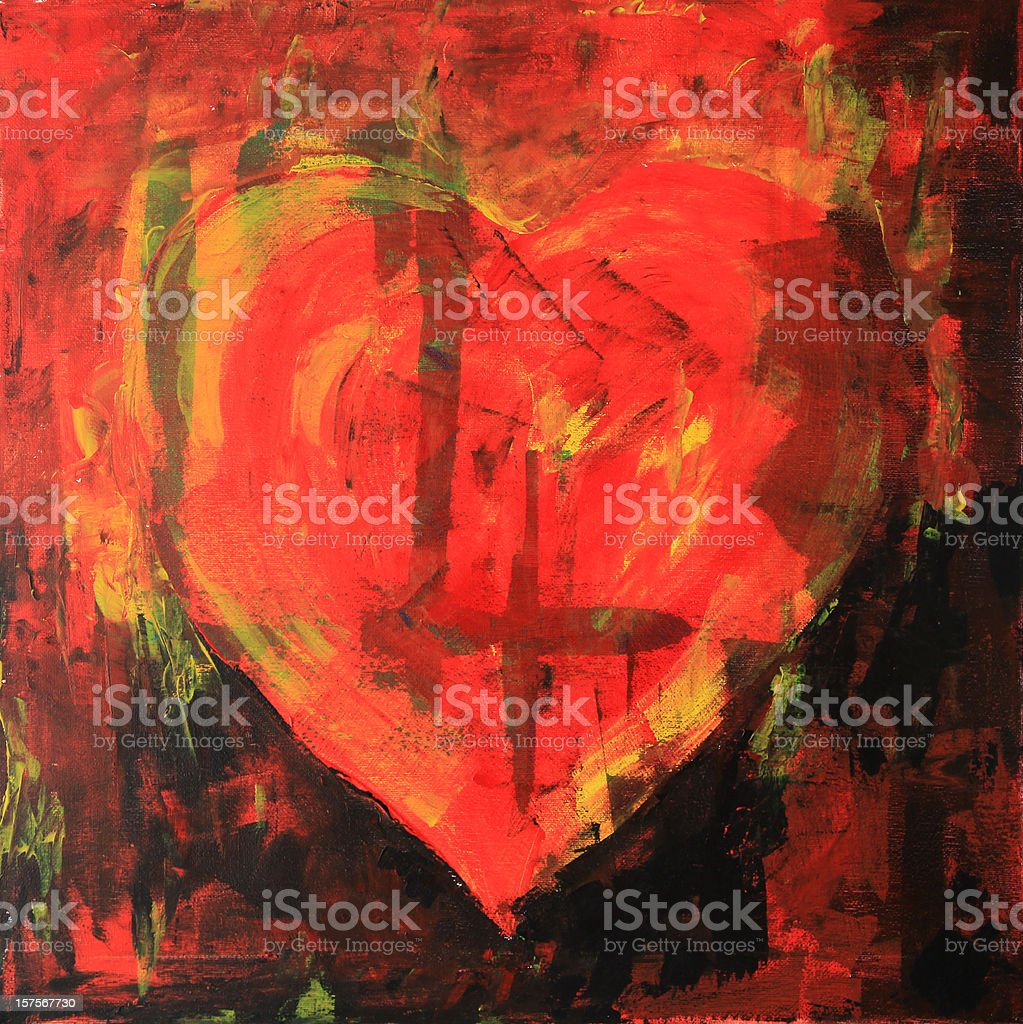 A burning heart abstract design with paint streaks in red royalty-free stock photo