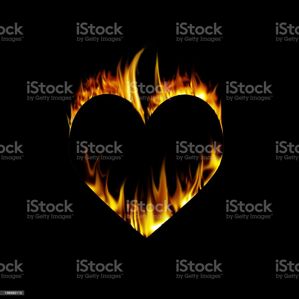 Burning heart royalty-free stock photo