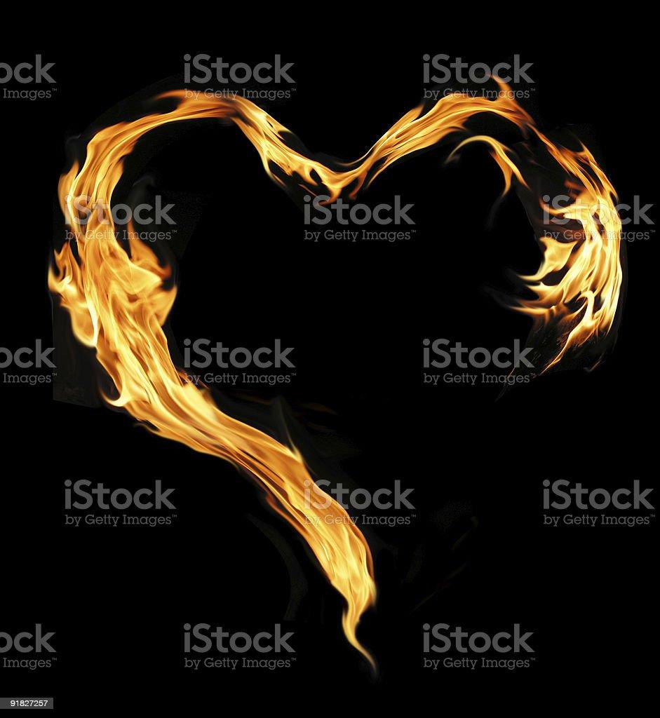 Burning heart vector art illustration
