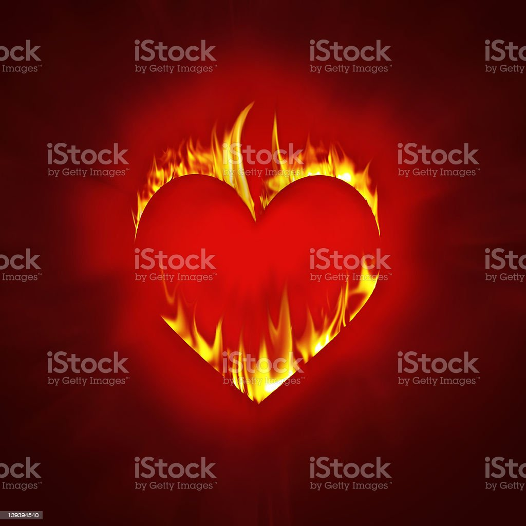 Burning heart red version royalty-free stock photo