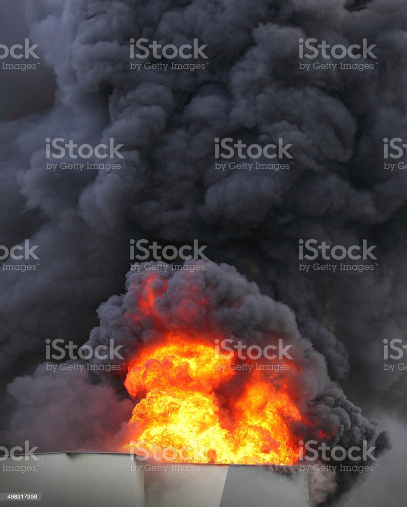 Burning house. stock photo
