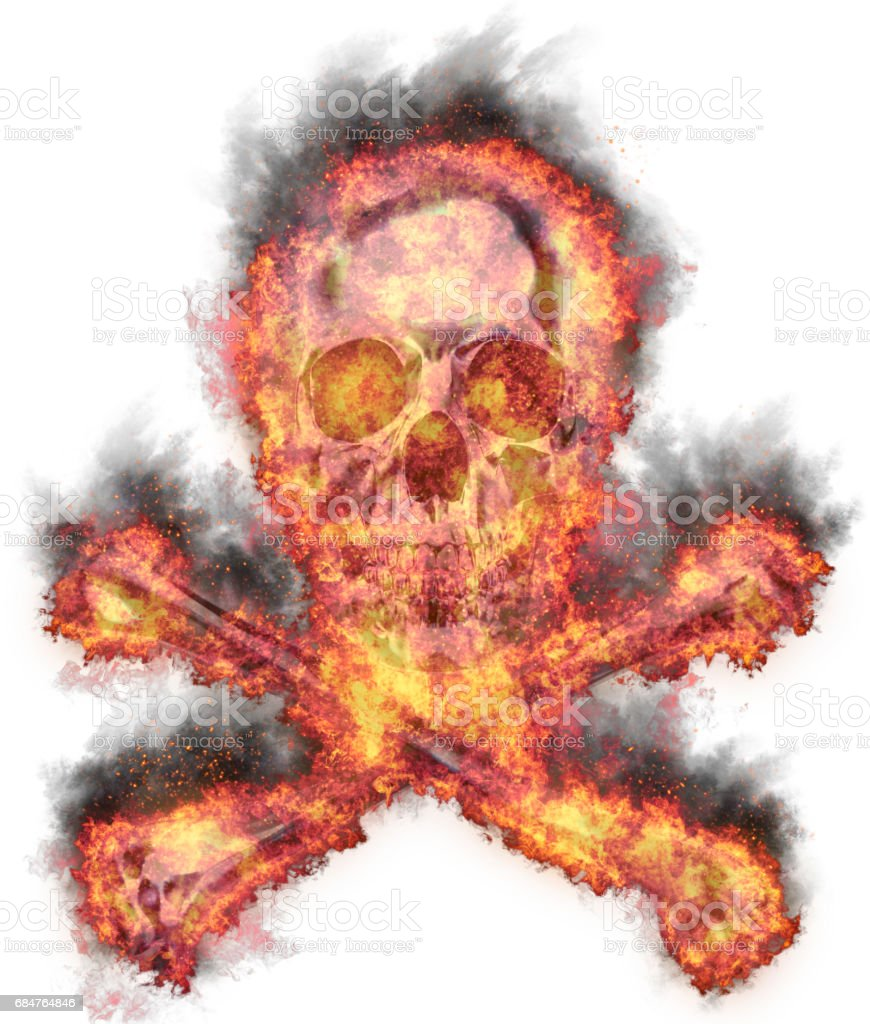 Burning human skull and crossed bones, bursted into flames, isolated against the white background vector art illustration