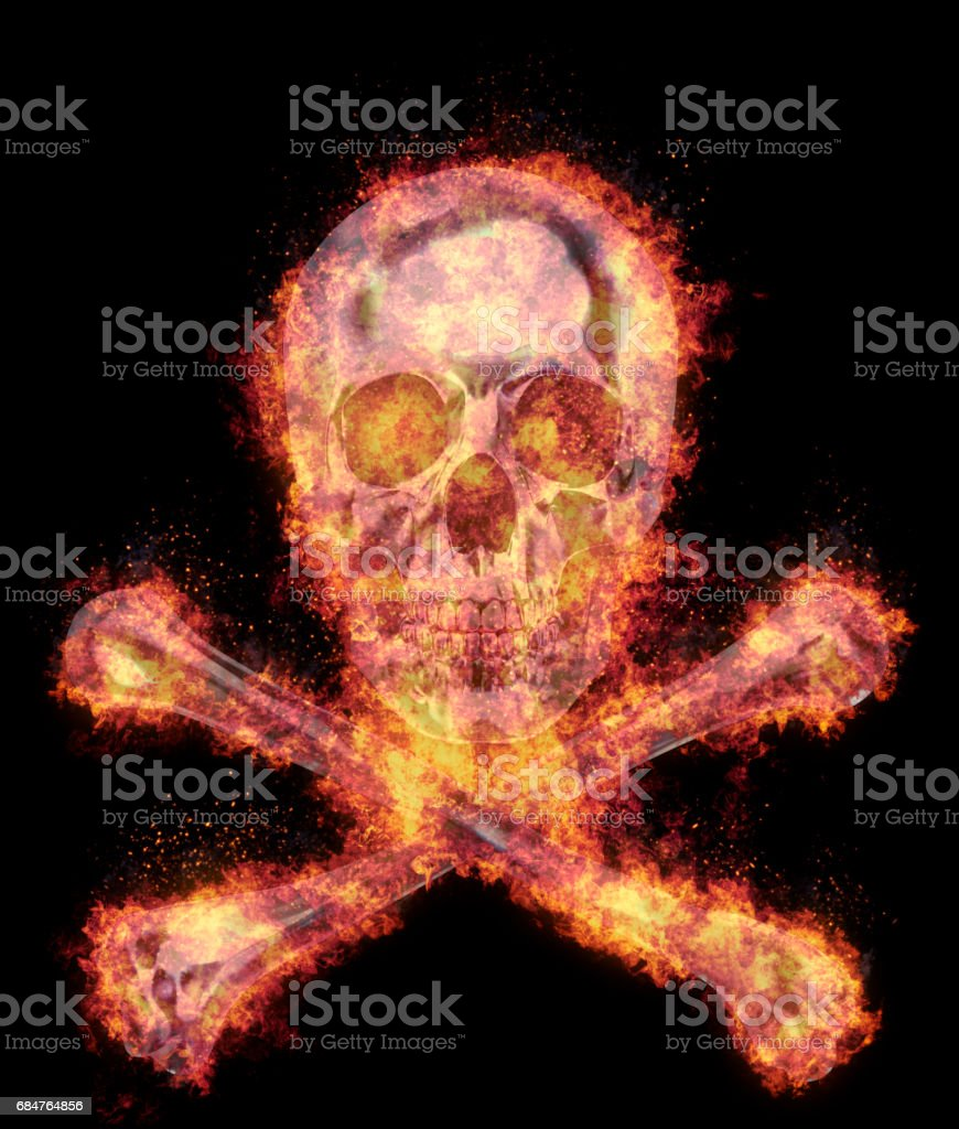 Burning human skull and crossed bones, bursted into flames, isolated against the black background vector art illustration