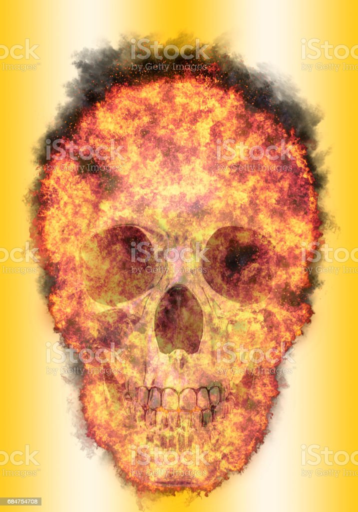 burning human skull, bursted into flames, isolated against the gold background vector art illustration