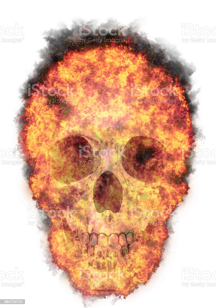 burning human skull, bursted into flames, isolated against the white background vector art illustration
