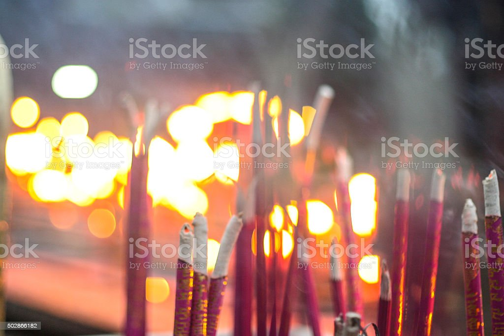 Burning Incense and Candles stock photo
