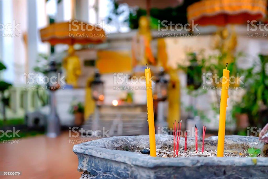 Burning Incense Aroma Sticks In Urn, Thai Temple, Thailand. stock photo