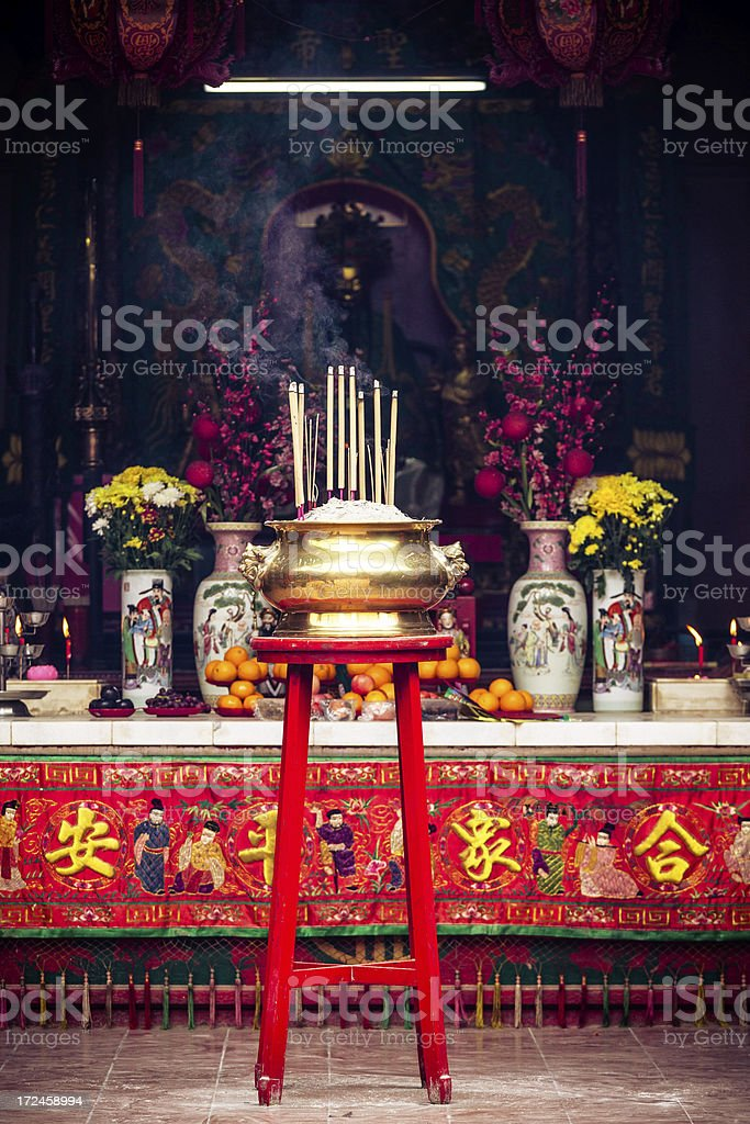 Burning Incense Sticks, Buddist Chinese Temple in Singapore royalty-free stock photo