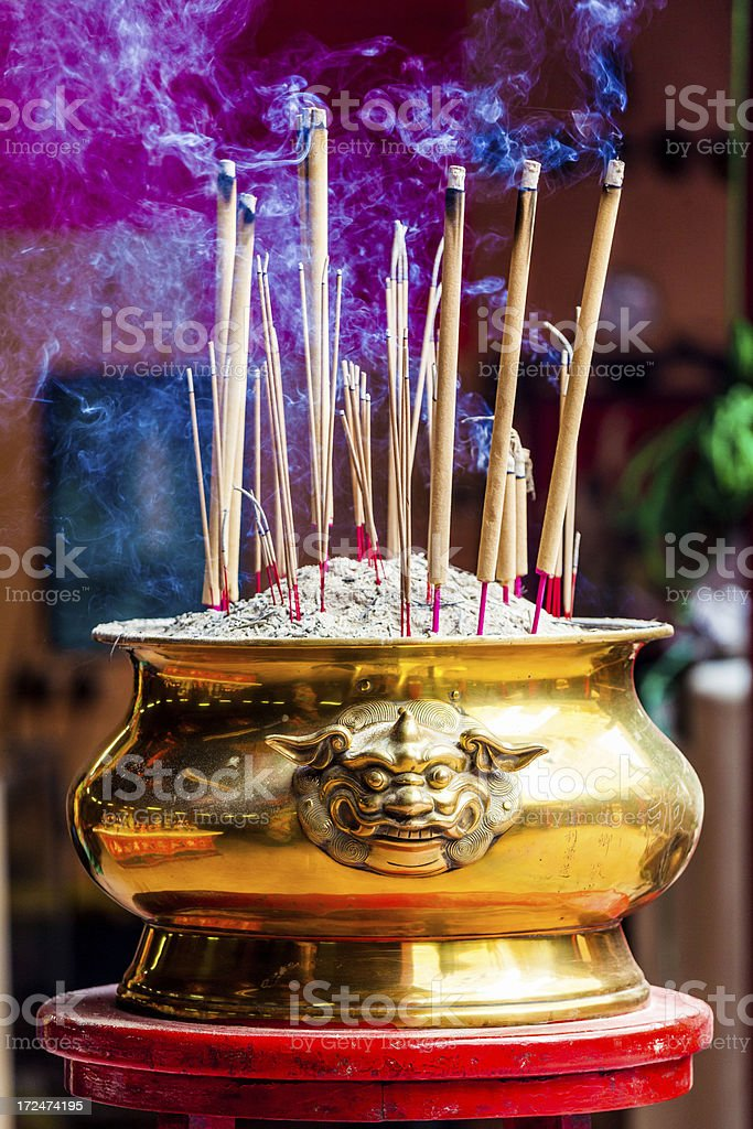 Burning Incense Sticks in Chinese Temple royalty-free stock photo