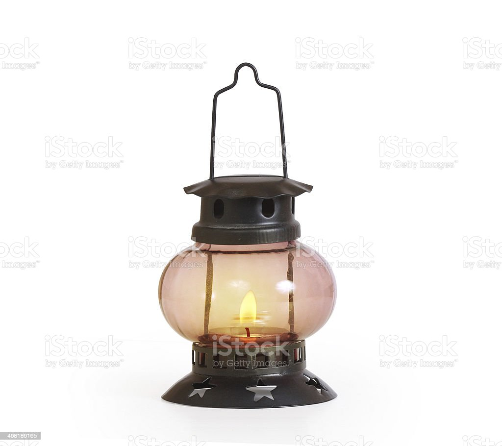 burning kerosene lamp stock photo