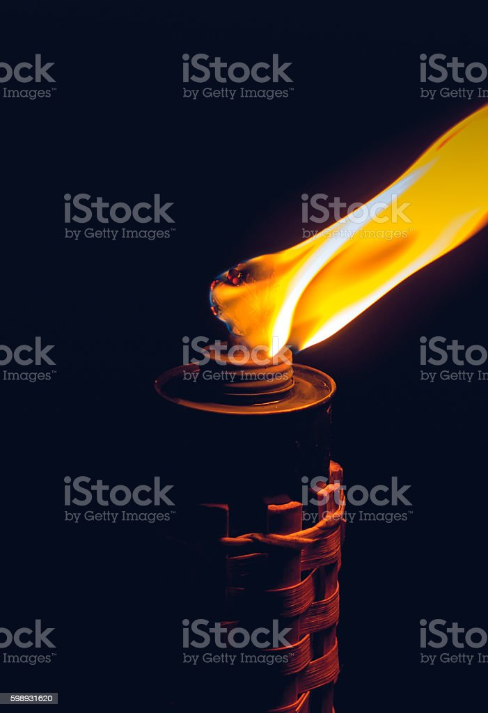 Burning kerosene torch stock photo