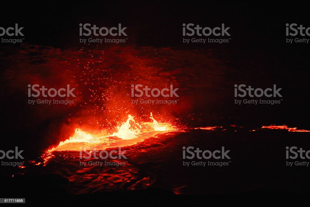 Burning lava lake in Erta Ale volcano-Danakil-Ethiopia. 0209 stock photo