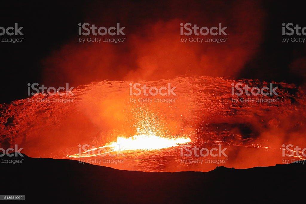 Burning lava lake in Erta Ale volcano-Danakil-Ethiopia. 0219 stock photo