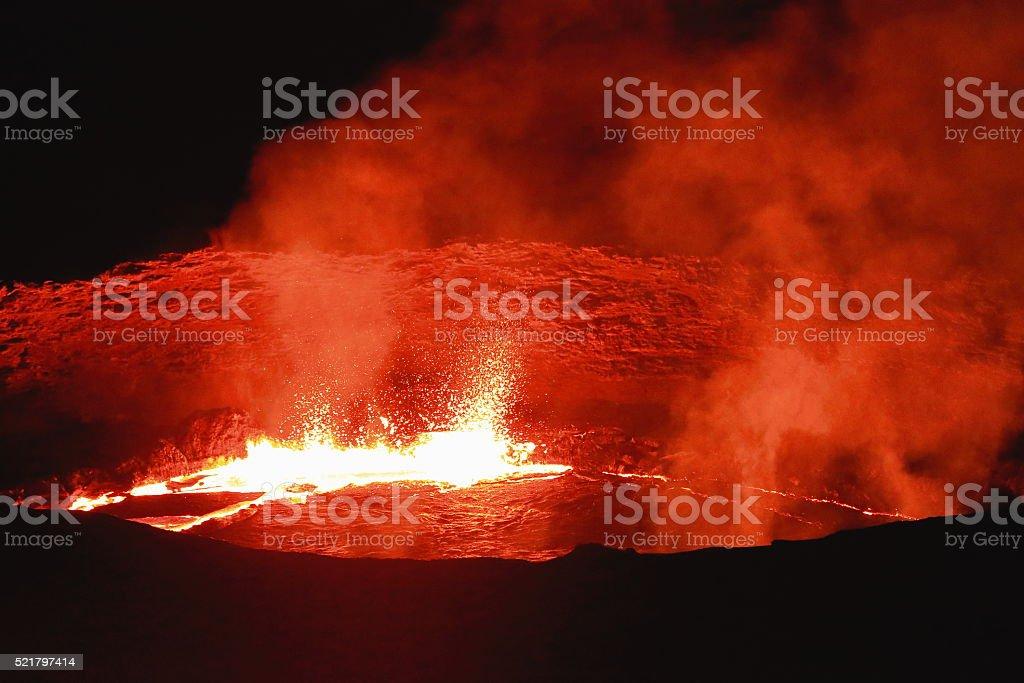 Burning lava lake in Erta Ale volcano-Danakil-Ethiopia. 0223 stock photo
