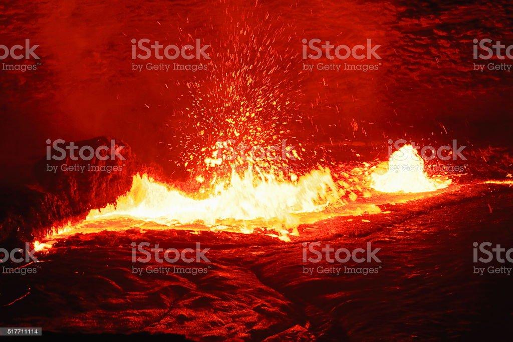 Burning lava lake in the Erta Ale volcano-Danakil-Ethiopia. 0207 stock photo
