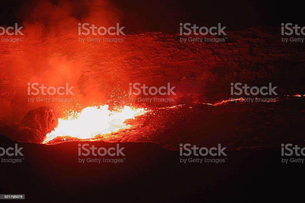 Burning lava lake in the Erta Ale volcano-Danakil-Ethiopia. 0213 stock photo