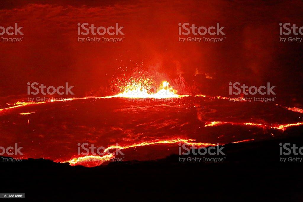 Burning lava lake in the Erta Ale volcano-Danakil-Ethiopia. 0236 stock photo