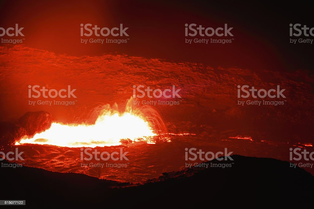 Burning lava lake of the Erta Ale volcano-Danakil-Ethiopia. 0215 stock photo