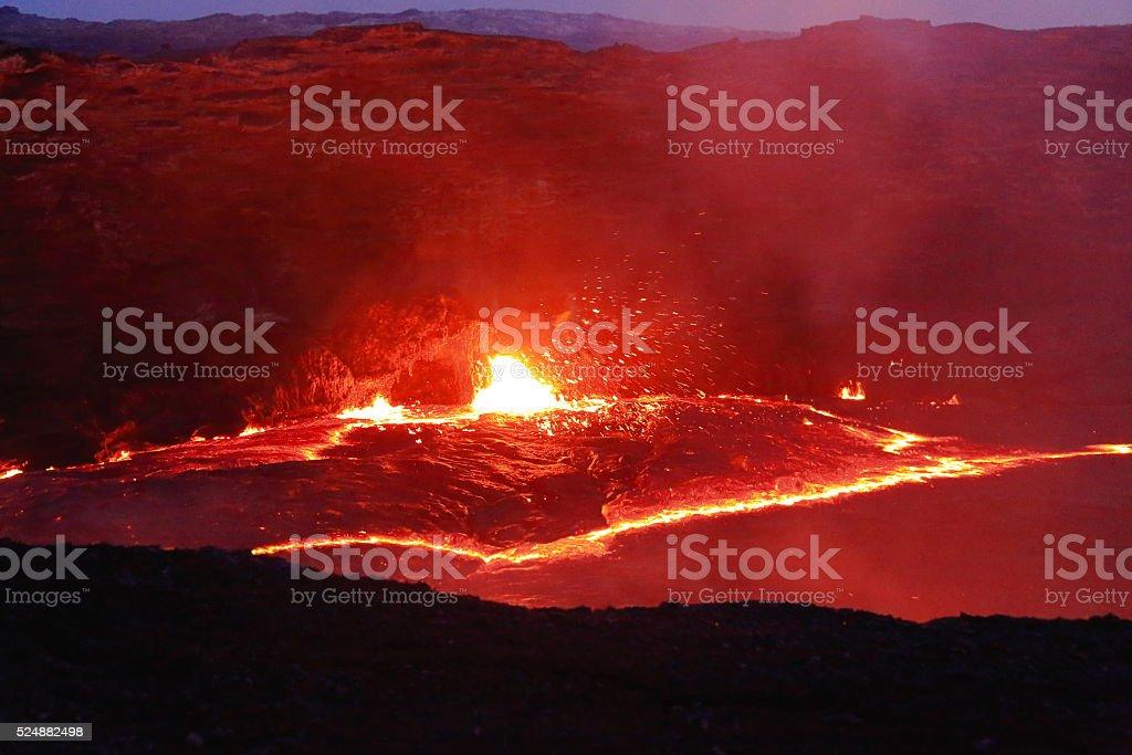 Burning lava lake of the Erta Ale volcano-Danakil-Ethiopia. 0238 stock photo