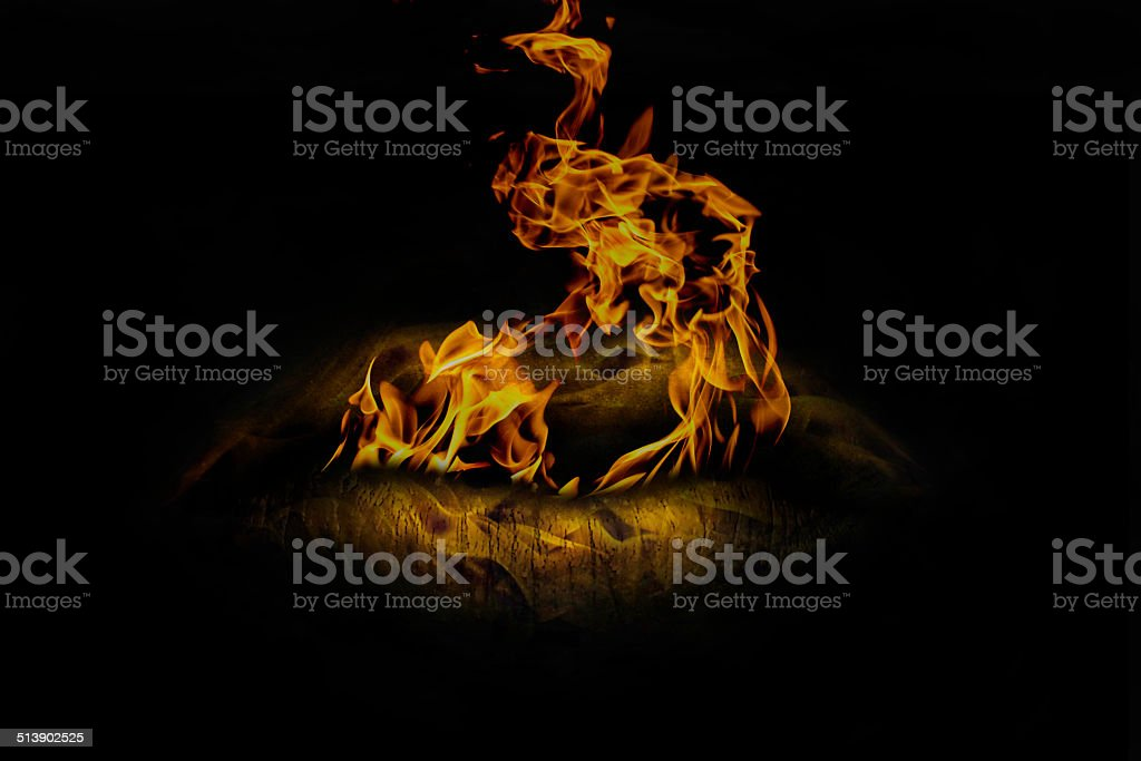 Burning lips from which the fire comes stock photo