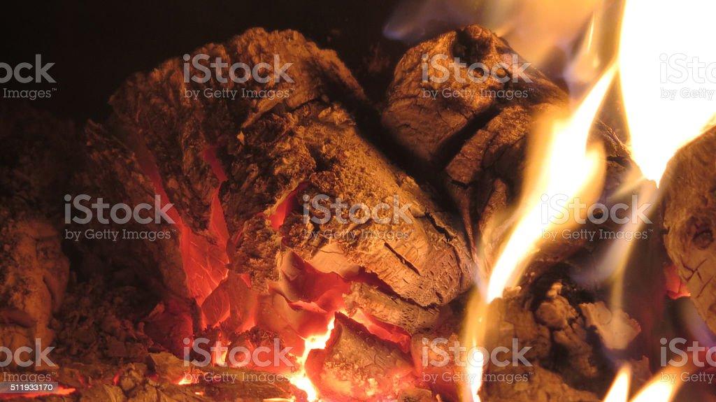 Burning log fire stock photo