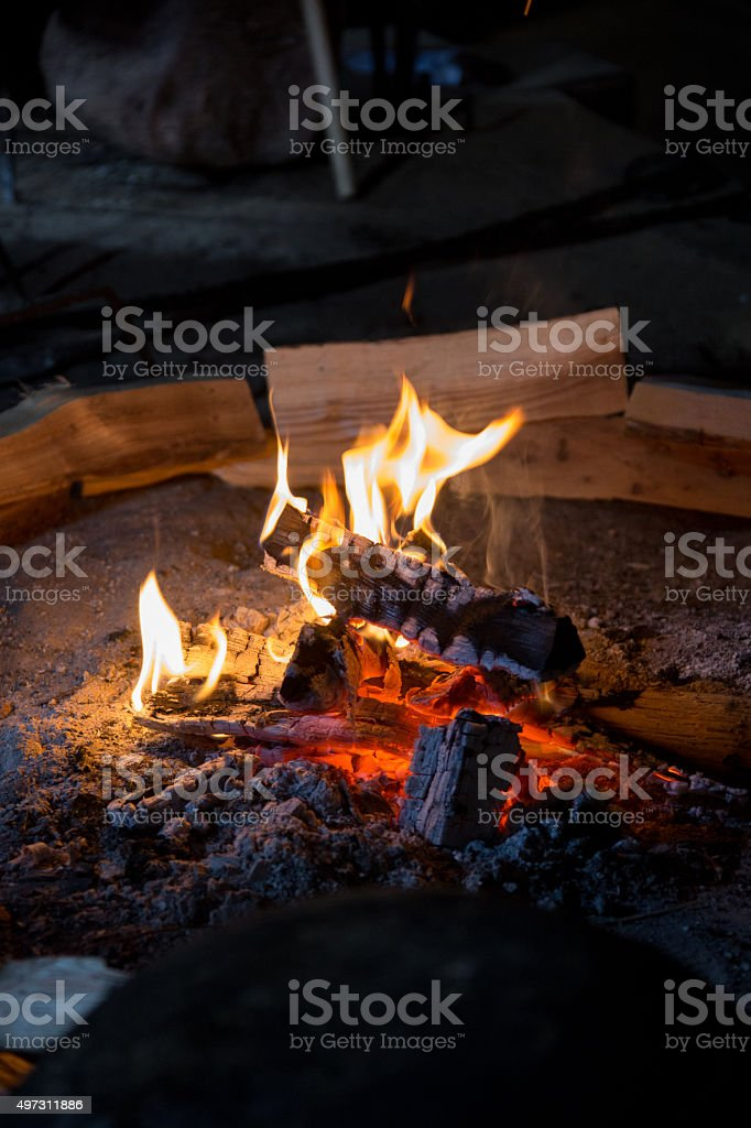 Burning Logs and Fire stock photo