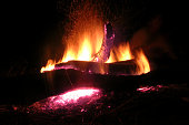 Burning logs night orange bonfire