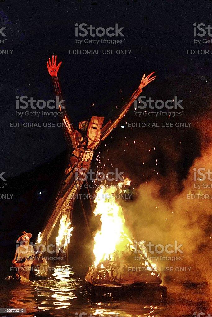 Burning Man Full moon party. stock photo