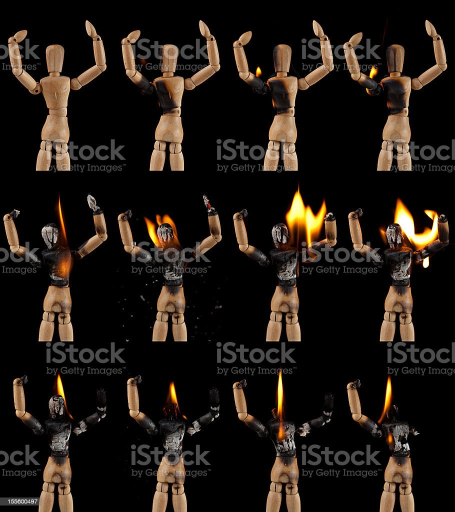 Burning mannequin stock photo