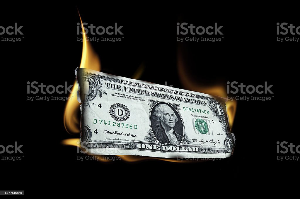 Burning Money 2 stock photo