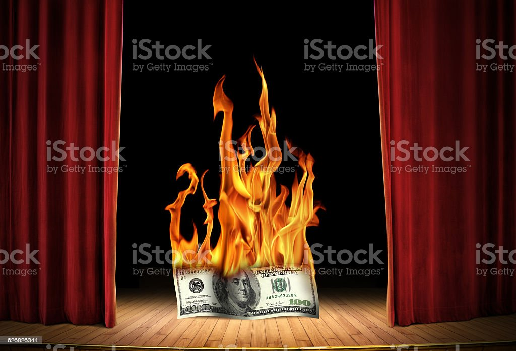 burning money entertainment stock photo