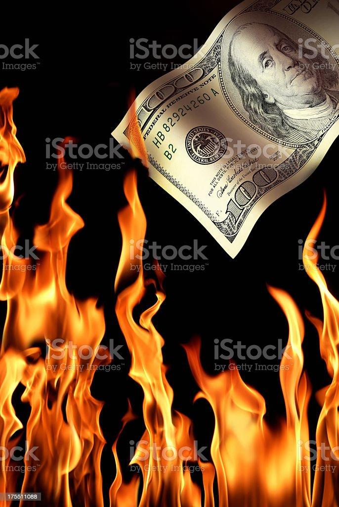 burning money stock photo