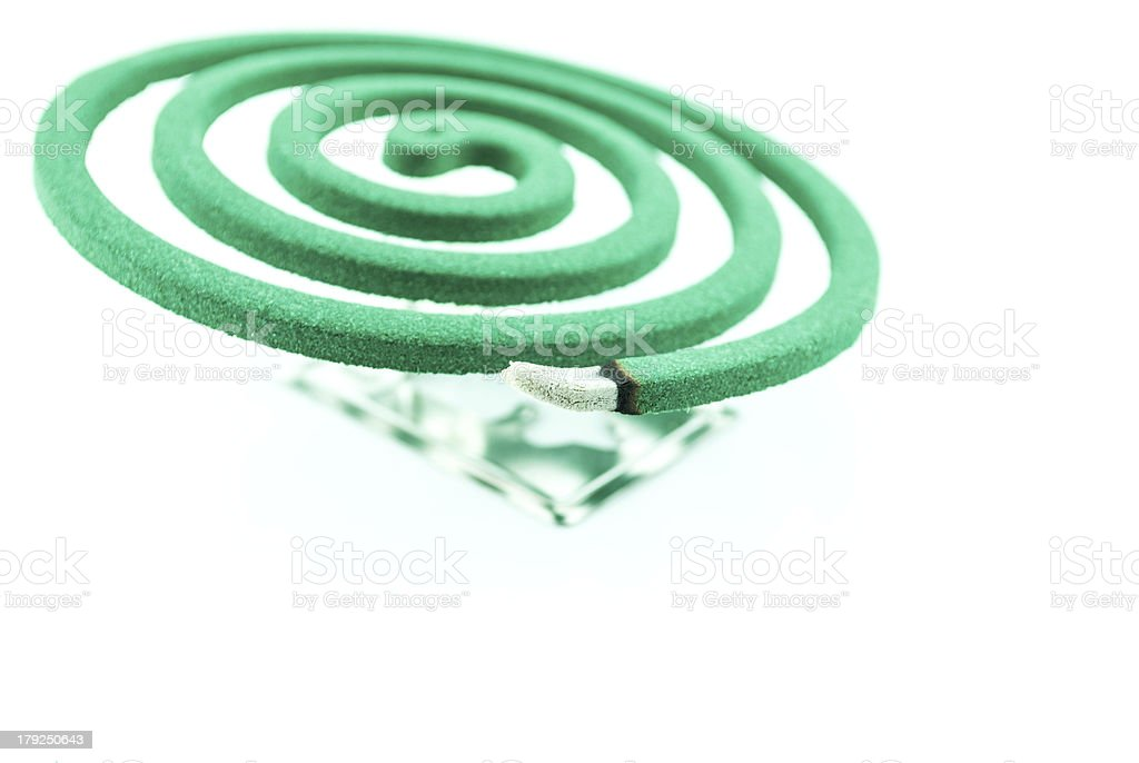 Burning mosquito coil stock photo