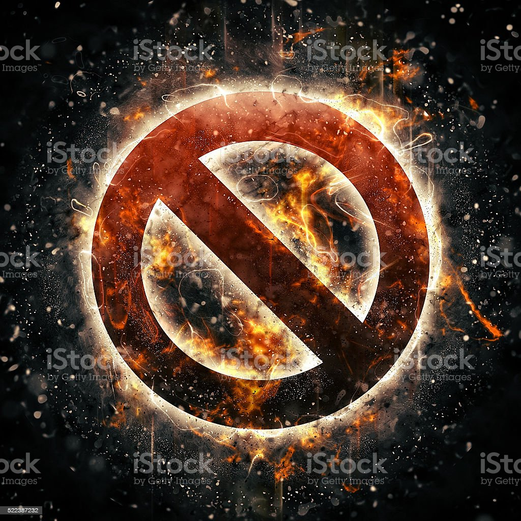 Burning no sign stock photo