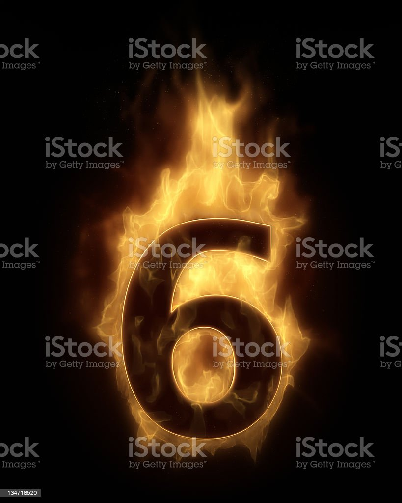 Burning number six royalty-free stock photo