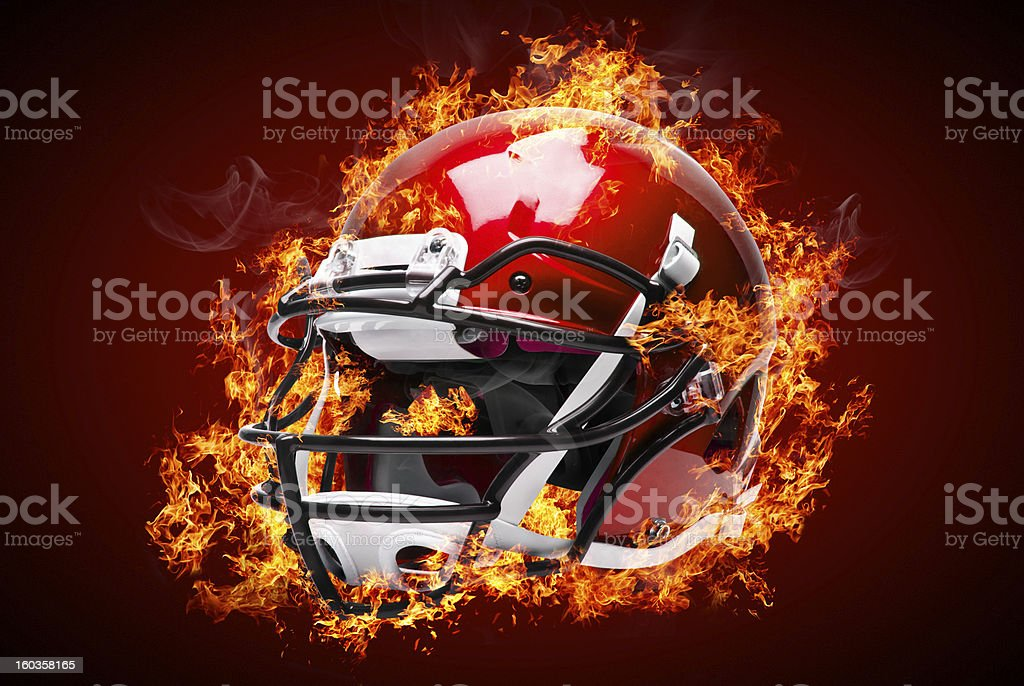 Burning objects on fire background - helmet royalty-free stock photo