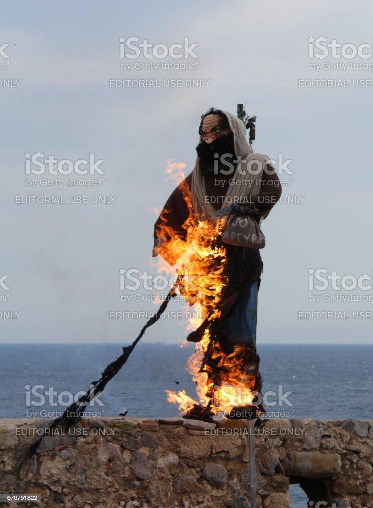 Burning of Judas Iskariot Greek Easter Ritual stock photo