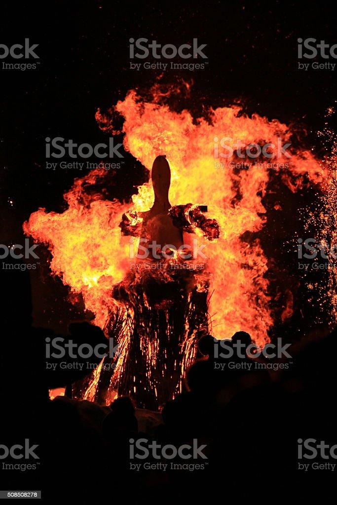 Burning of Maslenitsa Scarecrow in evening stock photo