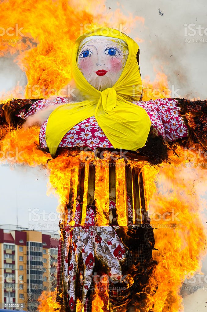 Burning of scarecrow of Carnival stock photo