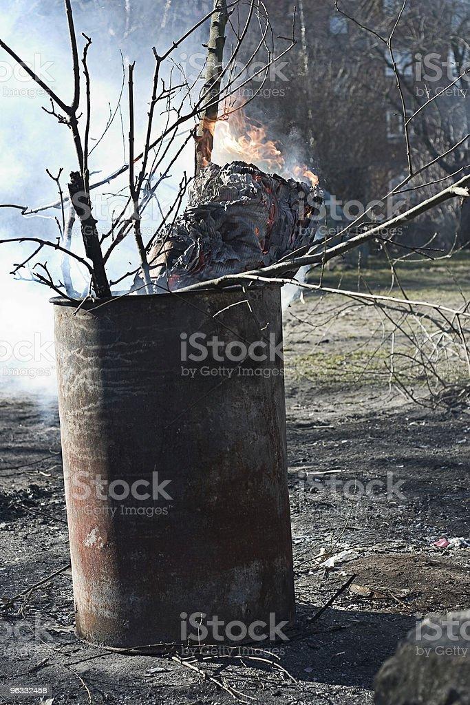 Burning oil drum stock photo