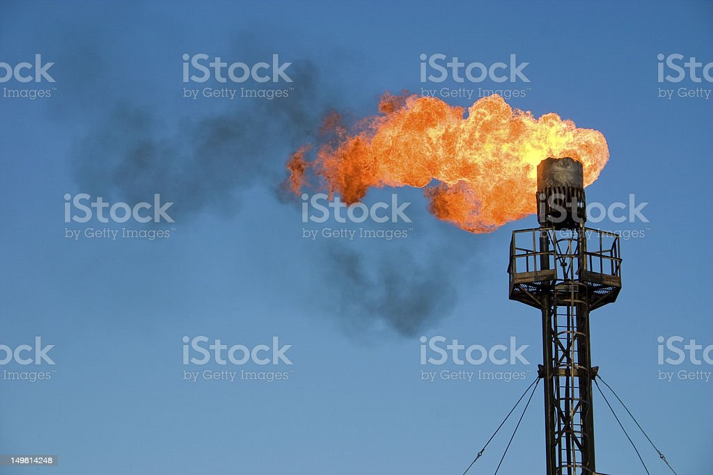 Burning oil flare royalty-free stock photo