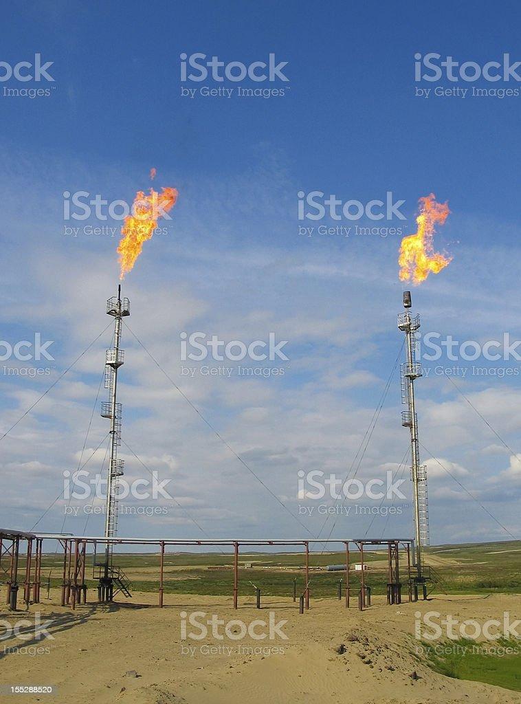 Burning oil gas flares royalty-free stock photo
