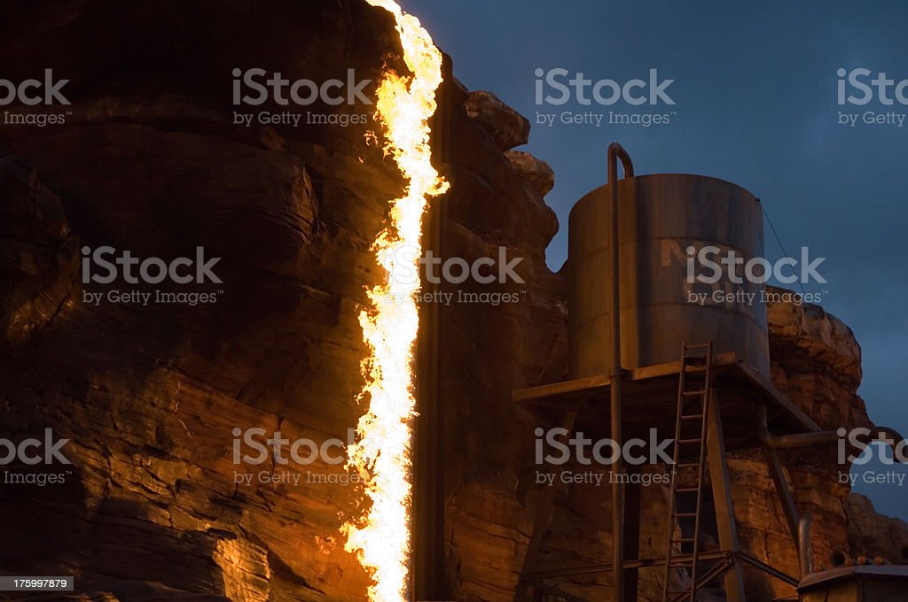 burning oil pipeline royalty-free stock photo